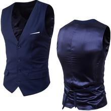 Männer Navy Blau Kleid Anzug Weste Weste 2020 Neue Slim Fit V-ausschnitt Smoking Weste Männer Formale Business Smart casual Gilet Homme 6XL