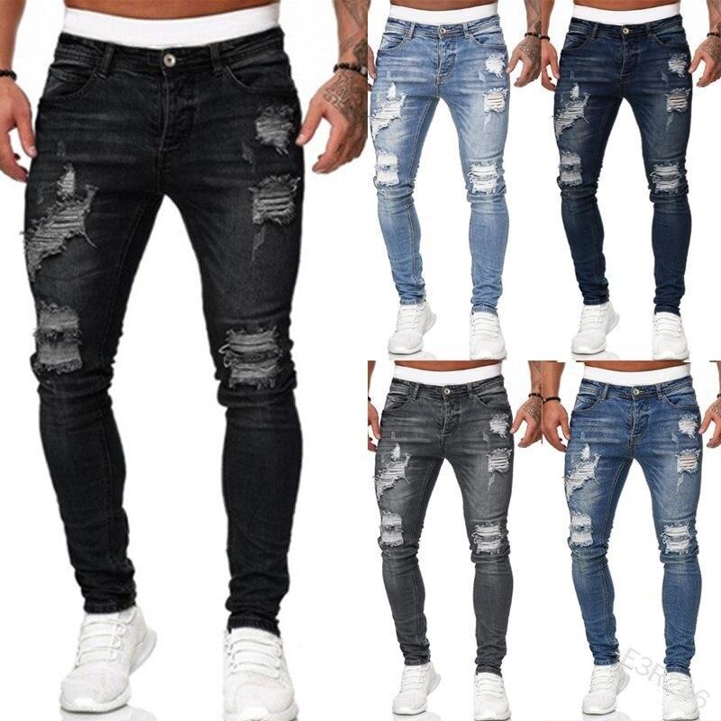 Мужские рваные брюки, белые, облегающие, джинсовые брюки, уличные тренды, выполненные старые штаны