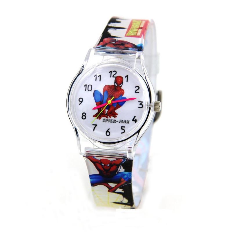 Classic cartoon spiderman student watch Korea ulzzang sufeng zipper transparent fashion jelly watch