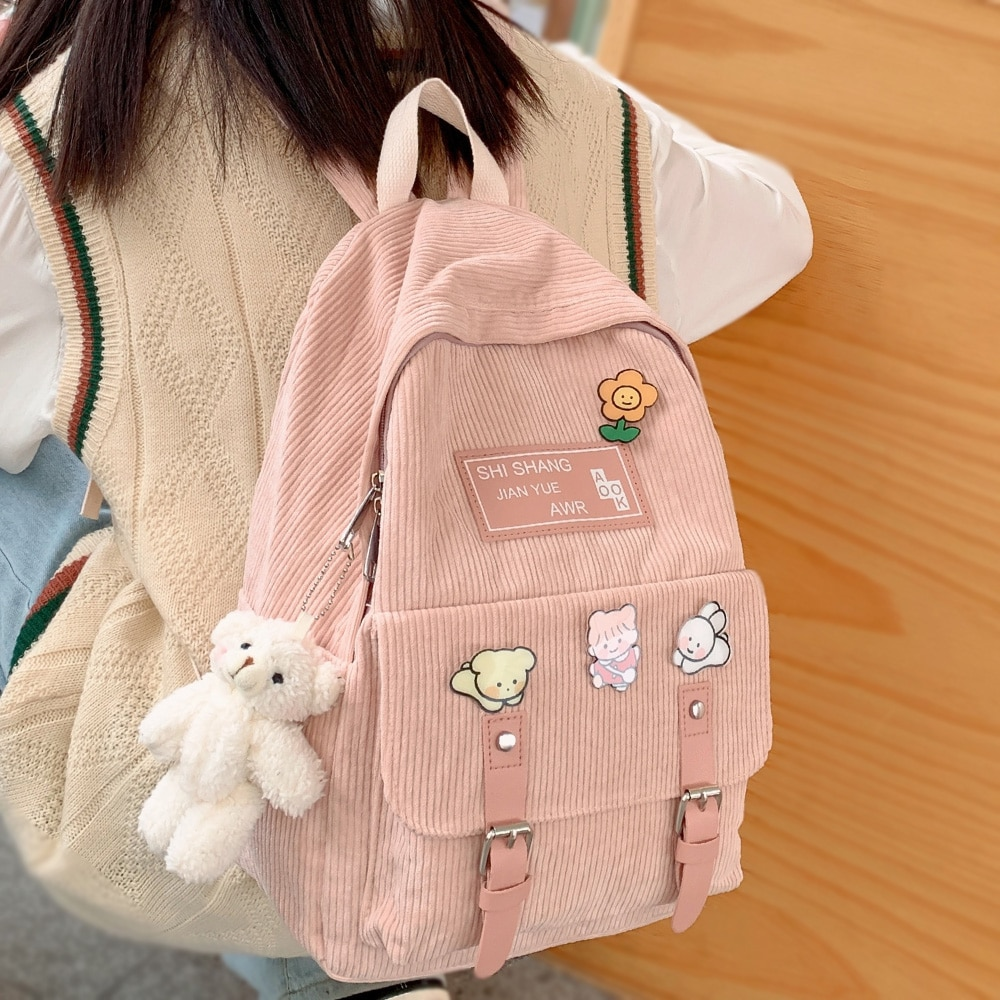 Girl Cute Student kawaii Backpack Corduroy College Ladies School Bag Stripe Female Fashion Backpack