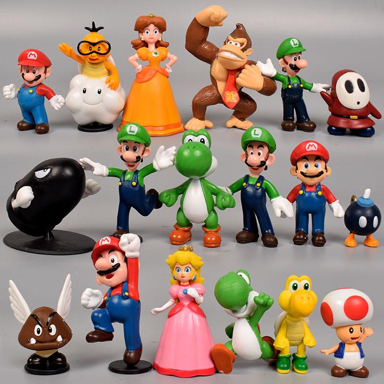 """18 pçs/set Super Bros 1 """"-2.5"""" Brinquedo Dinossauro Yoshi Figura Koopa Luigi Ação Anime Figura PVC Kid Toy Presente de Natal Aniversário"""