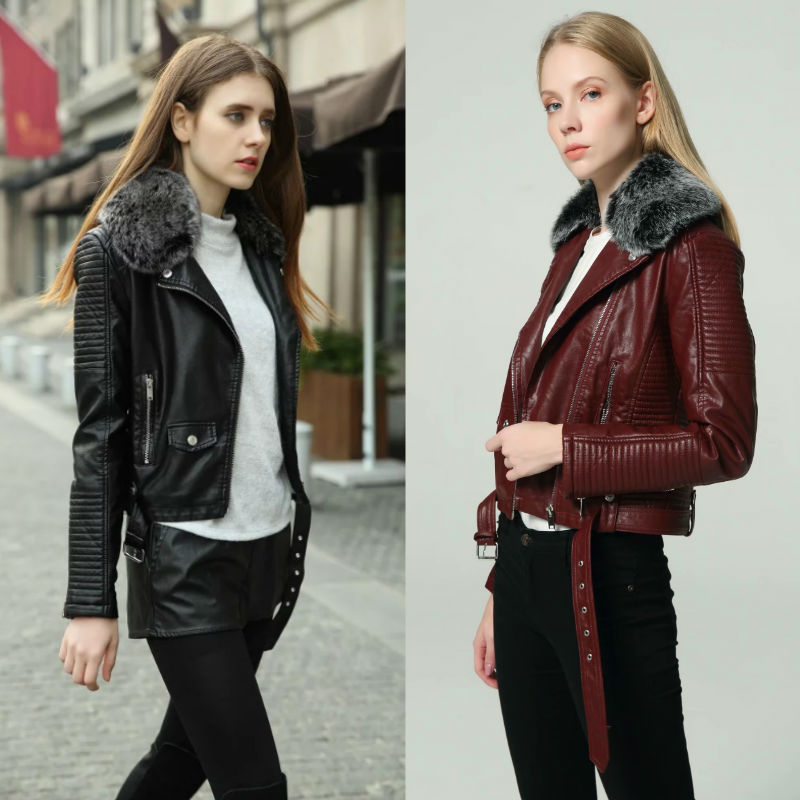 2021 Fashion Trend Women's Winter and Spring Warm Detachable Fur Cotton Cashmere Thick Coat Motorcycle Jacket Leather Coa Women enlarge