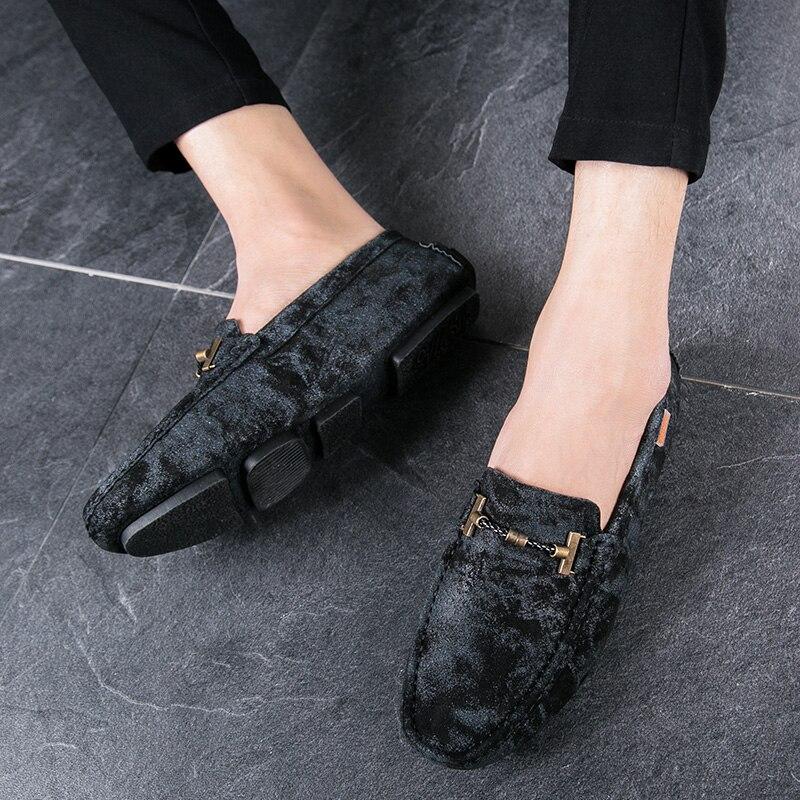 De cuero de gamuza para hombre mocasines transpirables Slip en zapatos gommino zapatos para manejar autos hombres ligero pisos casuales negro