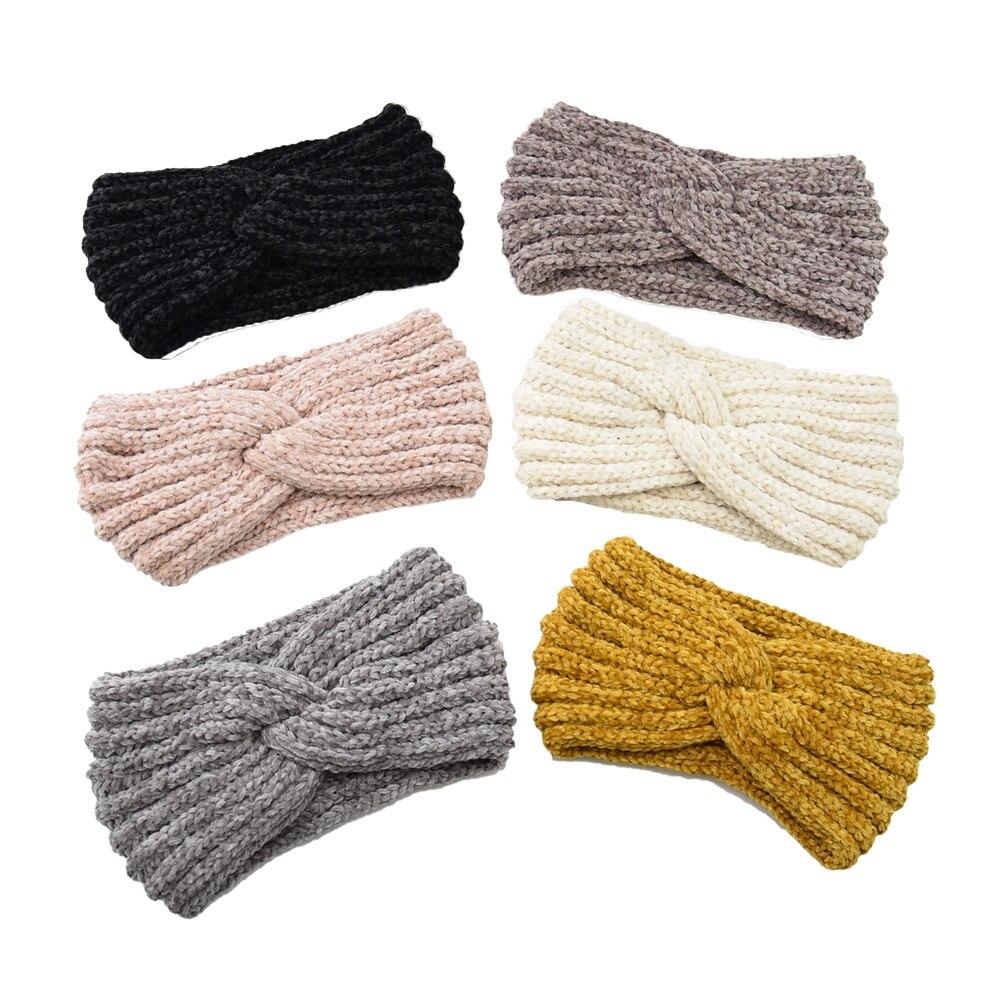 Caliente Punto de lana banda cruzada para el pelo orejeras hecho a mano accesorios para el cabello caliente diadema multicolores accesorios de invierno
