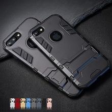 Luxus Stehen Rüstung Telefon Halter Fall Für iphone 7 8 6 6S Plus X S XS Hybrid TPU + harte PC Stoßfest Zurück Abdeckung für iphone 5 5S SE