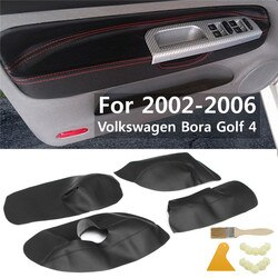 4 pçs/set Proteção Do Painel Da Porta Interior Do Carro Acessório Capa Para Volkswagen Golf Bora Couro Microfibra 4 2002 2003 2004 05 06
