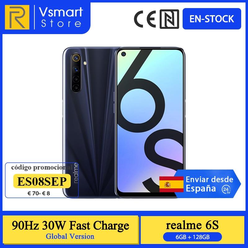 Versão global realme 6s smartphone 6gb 128gb 6.5 90 90hz display helio g90t 48mp quad câmeras traseiras 4300mah 30w carga rápida telefone
