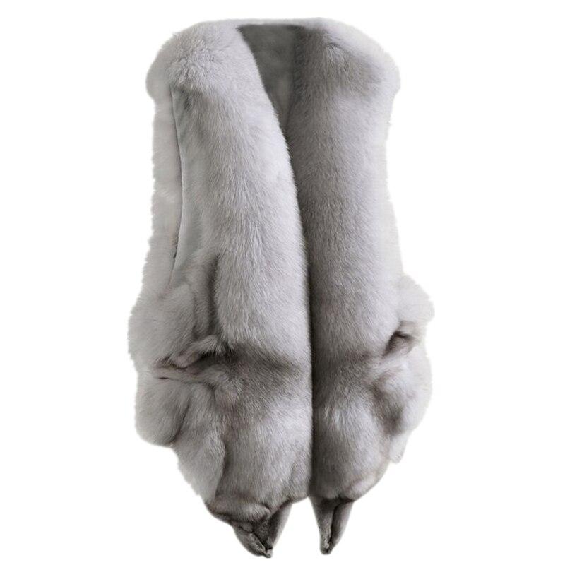 Chaleco de piel de zorro auténtica Natural de 100% a la moda para mujer, novedad de invierno 2019, chaleco de piel de zorro genuino, chaqueta con bolsillos, chaleco de piel Real, abrigos