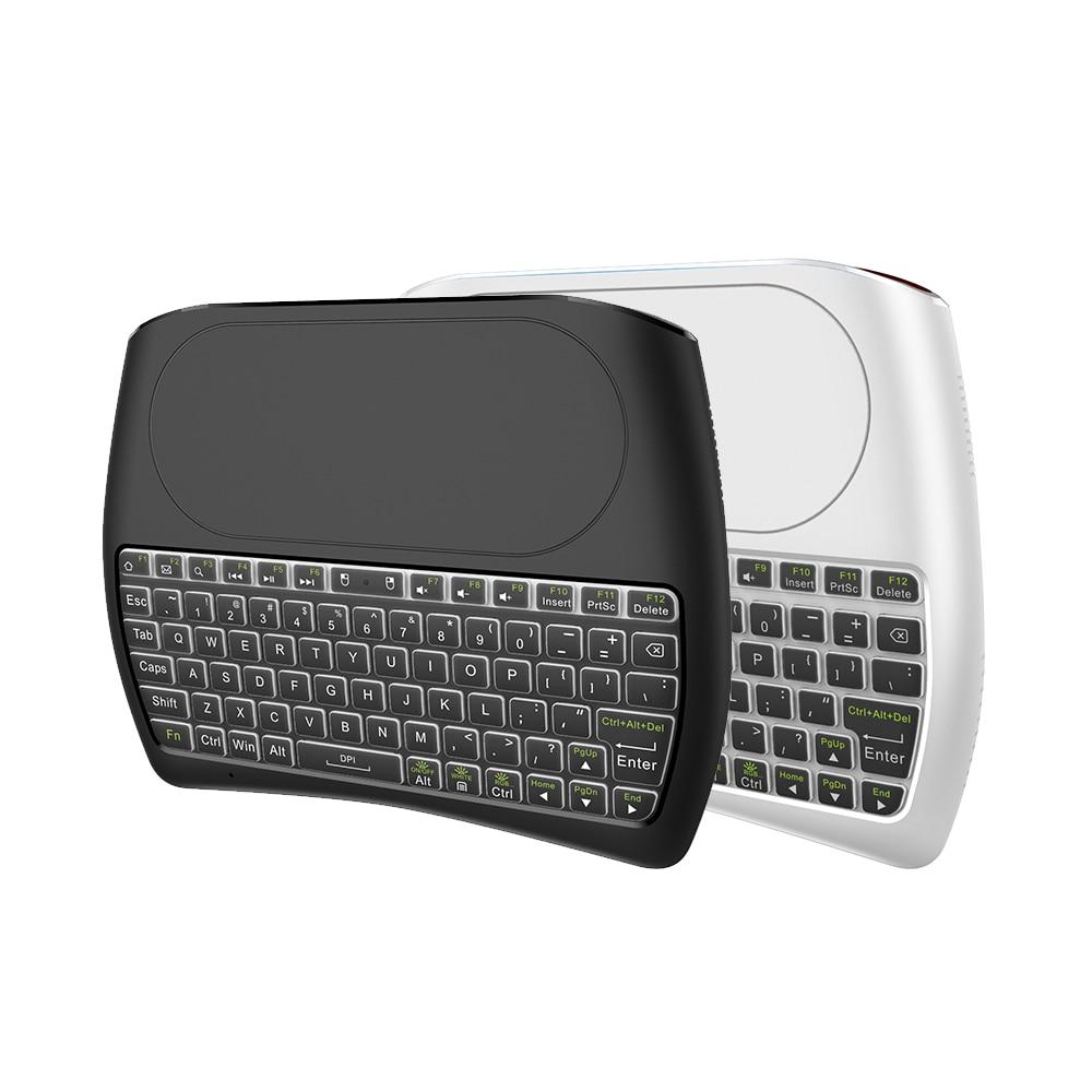 L8STAR arka D8 Pro artı i8 İngilizce rusça 2.4GHz kablosuz Mini klavye hava fare Touchpad denetleyicisi için android tv kutusu