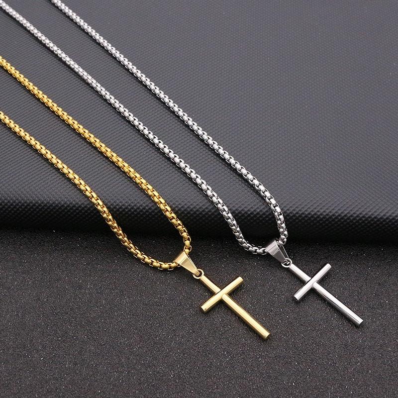 Colar feminino com pingente cruz simples, corrente de 60cm aço inoxidável dourado e prateado melhor presente