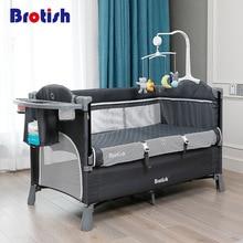 Estilo Europeo cuna empalme Cama grande extraíble bb multi-función portátil plegable recién nacido cabecera cama cuna cama