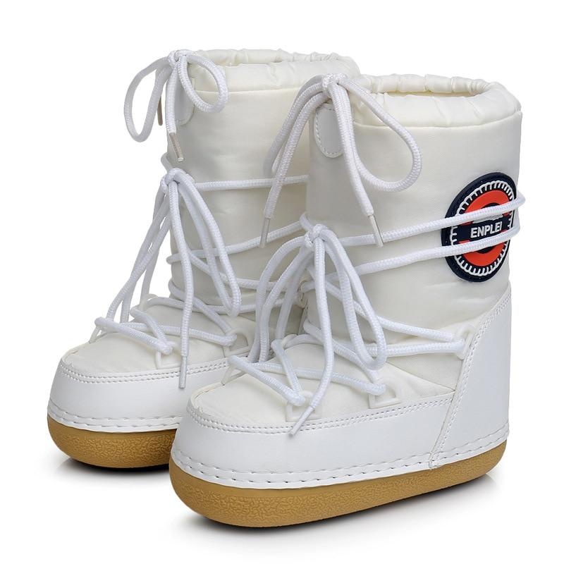 SWONCO الثلوج أحذية امرأة الشتاء أحذية دافئة منصة القمر الفضاء الأحذية الإناث 2019 الشتاء المخملية الفراء الدافئة حذاء من الجلد أحذية الثلوج