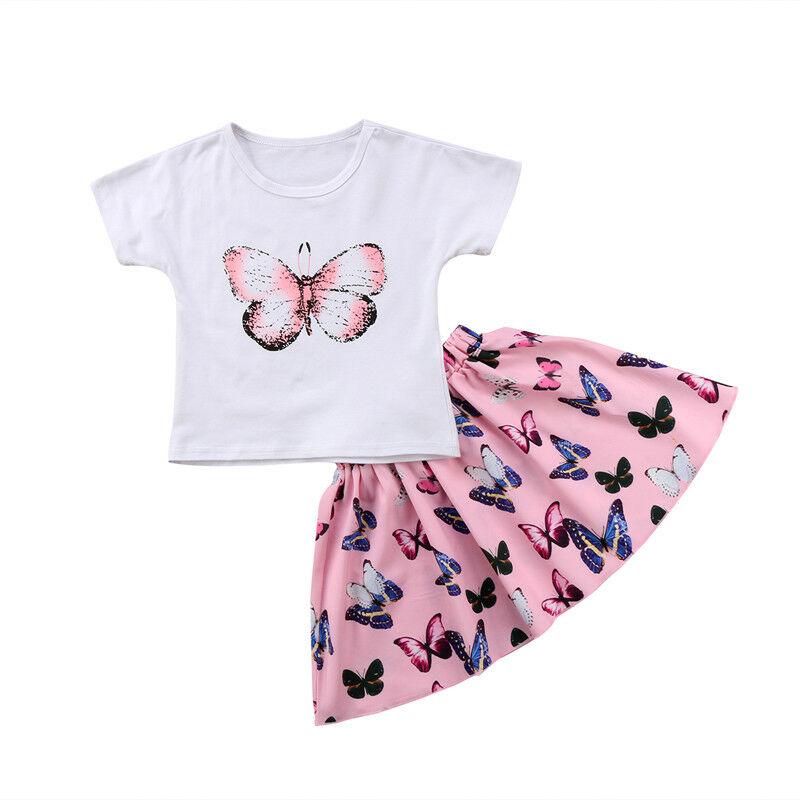 Verão da criança do bebê meninas conjuntos de roupas borboleta impressão manga curta t-shirts topo + saias 2 peças roupas moda para 1-6 t
