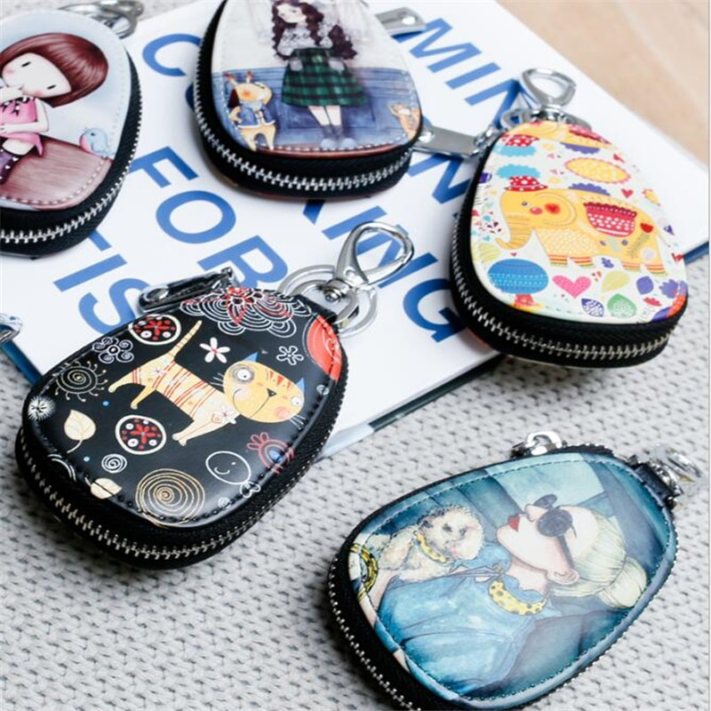 Cute Painted Key Bag For Women Leather Key Wallets Key Case For Car Key Chains Cover Zipper Leather