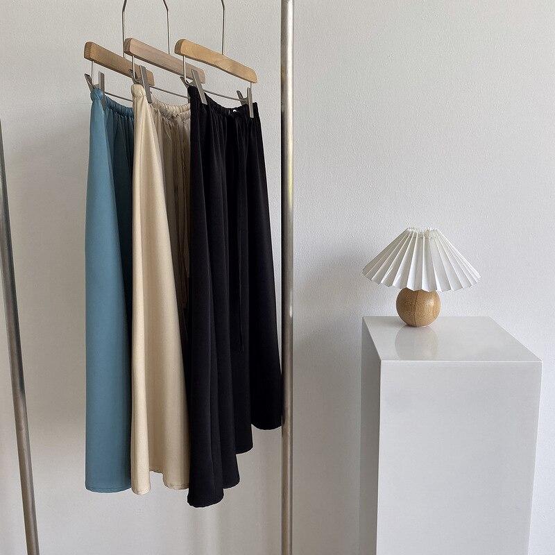 HXJJP faldas de verano para mujeres 2020 nueva falda de medio tro de cintura alta paraguas de satén falda femenina