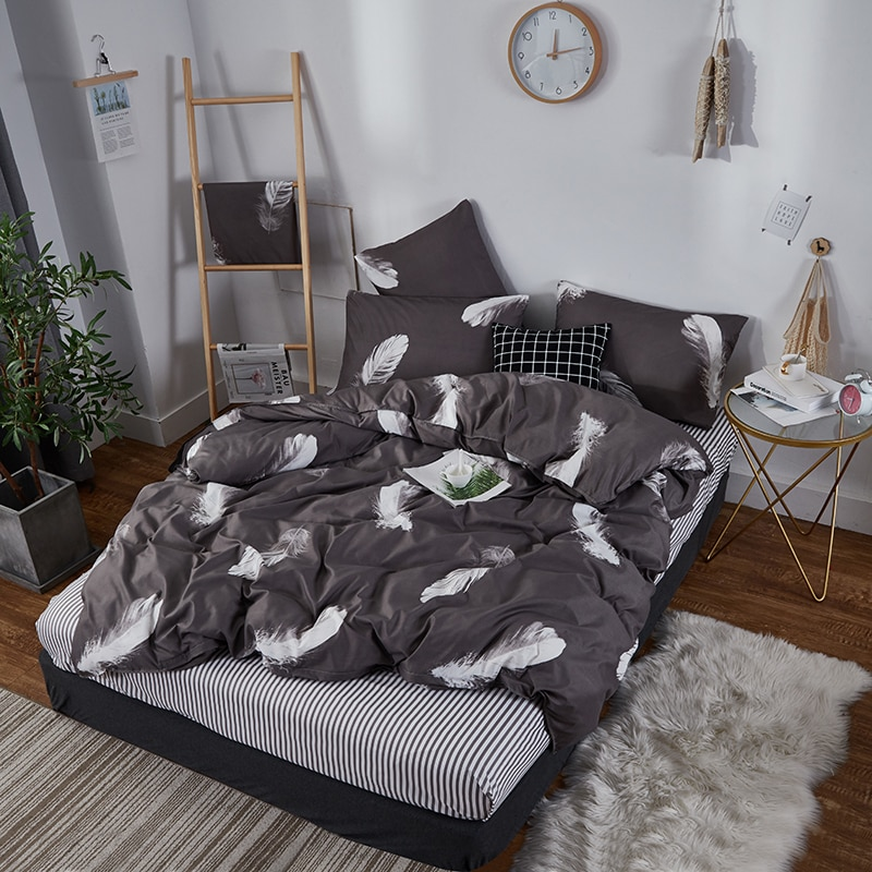 Alanna hot Selling 02 Printed Solid bedding sets Home Bedding Set 4-7pcs High Quality Lovely Pattern with Star tree flower