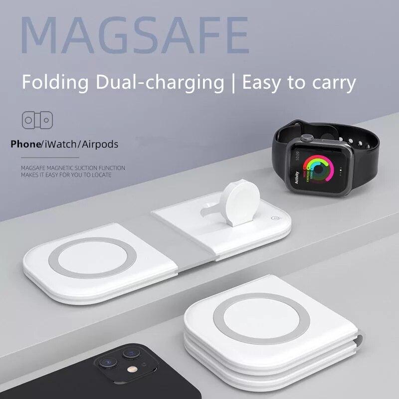 شاحن لاسلكي مغناطيسي 2 في 1 قابل للطي مزود بمنصة شحن سريع 15 واط لهاتف iPhone 12 Pro Max/Mini MgaSafing Duo شاحن لأجهزة AirPods