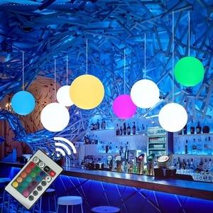 Outdoor LED Globe Ball Pendant Lamp With Remote Modern RGB Hanging Lights Restaurant KTV Bar Dining Room Bedroom Pendant Light