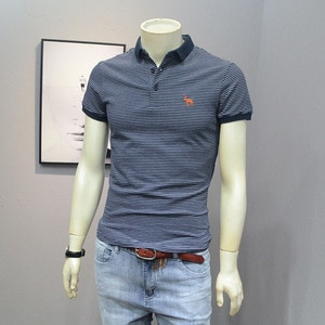 2021Short-Sleeved Men's Lapel T-Shirt Spring And Summer New Trend Korean Styl Slim Fit All-Matching Embroidery Mark Young Tees