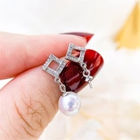 pearl earring settings charm jewelry findings s925 sterling silver component diy women gift handmade making accessories 2021 new