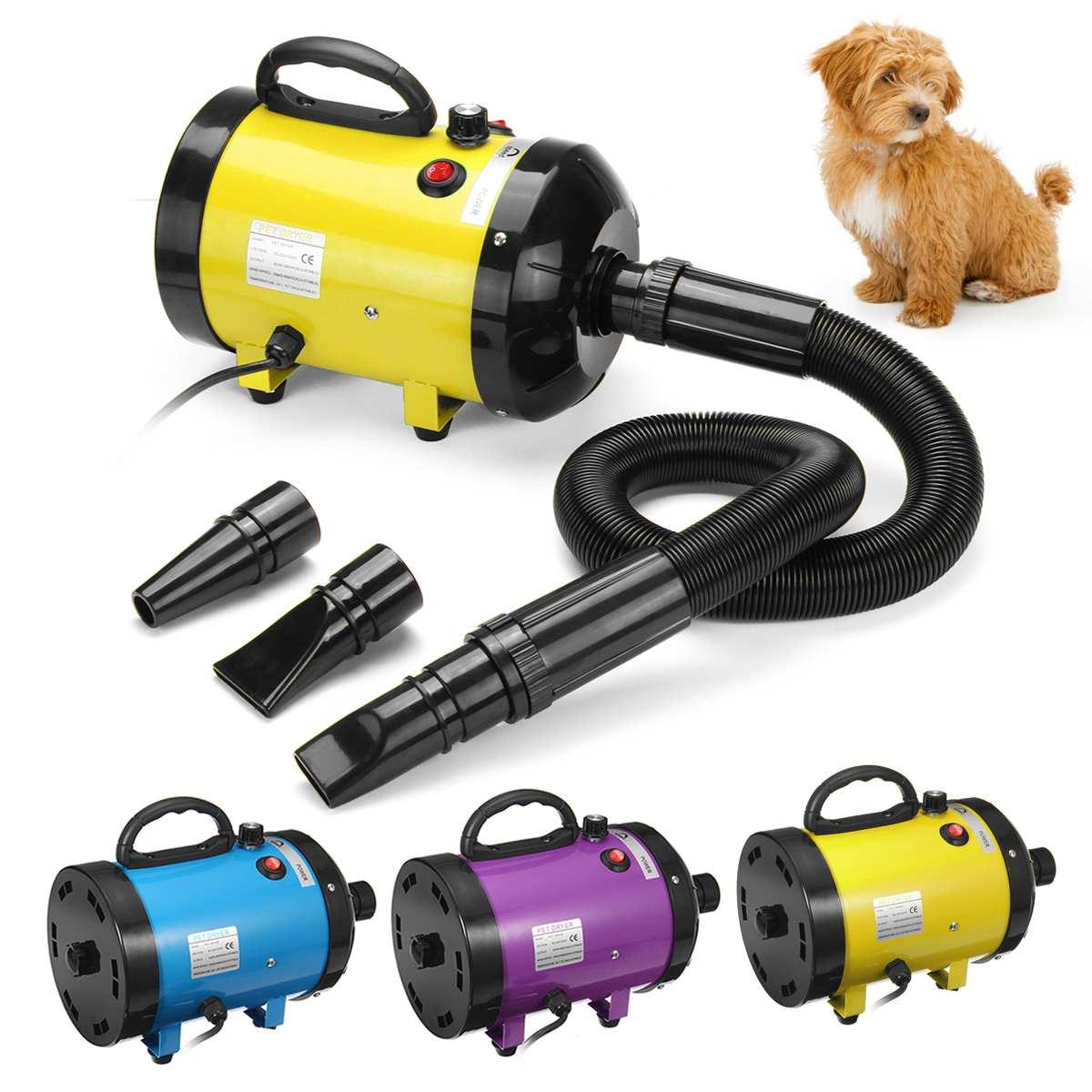 Secador de Pet Secador de Cabelo Ventilador de Baixo Ruído com 3 Secador Soprador Grooming Ajustável Poder-forte Bicos 2800w Pet Cão