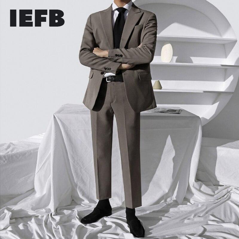 IEFB men's wear Two pieces of Korean suit for men slim groom wedding casual set handsome notched collar blazers set
