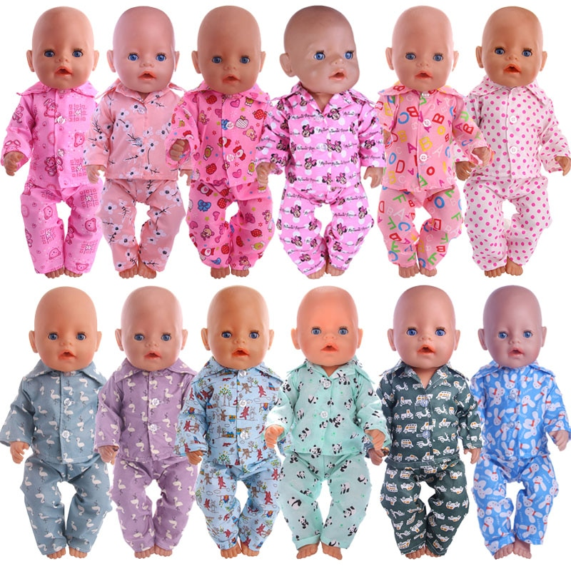 Doll Dsiney Cartoon Clothes Pajamas Nightgowns For 18 Inch American&43CM Reborn Baby New Born Doll ,