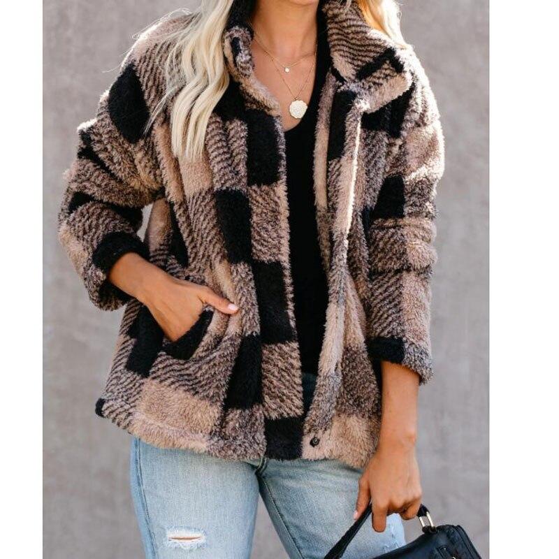 Chaqueta de punto informal para mujer, abrigo de lana de cuadros con...