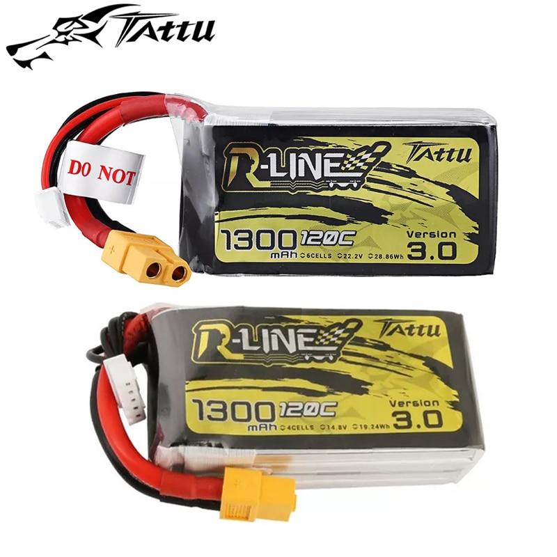 Nuevo Tattu r-line Versión 3,0 14,8 V 22,2 V 1300mAh 120C 4S 6S Lipo batería con enchufe XT60 para FPV RC Drone Quadcopter