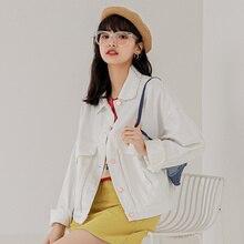 Women's Autumn Cropped Jacket 2021 New Korean Style Large Loose Pockets Single-breasted White Short