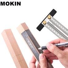 Scriber à bois t-règle en acier inoxydable trou positionnement croisé marquage jauge charpentier outils de mesure