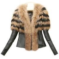 slim zipper pu leather fluffy patchwork short jacket plus size autumn and winter womens faux fur coat jacket women
