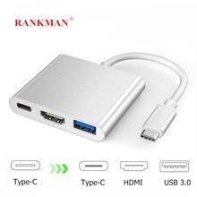 Rankman Type C Usb C Naar Hdmi 4K Usb 3.1 Usb 3.0 Vga Hub Adapter Kabel Voor Macbook Samsung s9 Dex Huawei P30 Projector Tv
