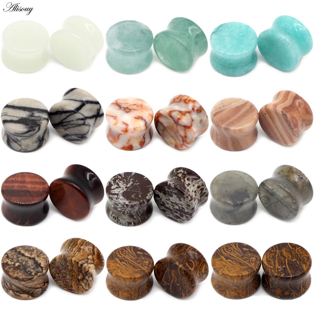 Растяжки Alisouy из натурального серьги из органического камня, туннели для пирсинга, ювелирные изделия для расширители для ушей, 6-16 мм, 2 шт.