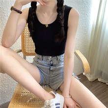CMAZ Knitted Ribbed Sleeveless Women's Tank Tops Summer Sexy O-Neck Casual Female Tanks 2021 Solid S