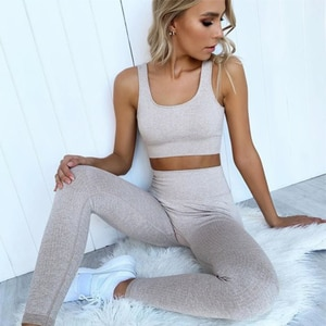 Seamless 2 Piece Set Fitness Clothing for Women Sports Bra and Leggings Set Sports Wear for Women Clothing Athletic Yoga Set
