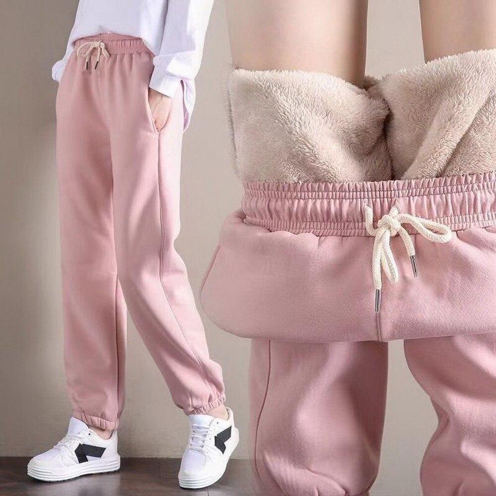 Зимние женские спортивные штаны для тренажерного зала, тренировочные флисовые брюки, однотонные плотные теплые зимние женские спортивные ...