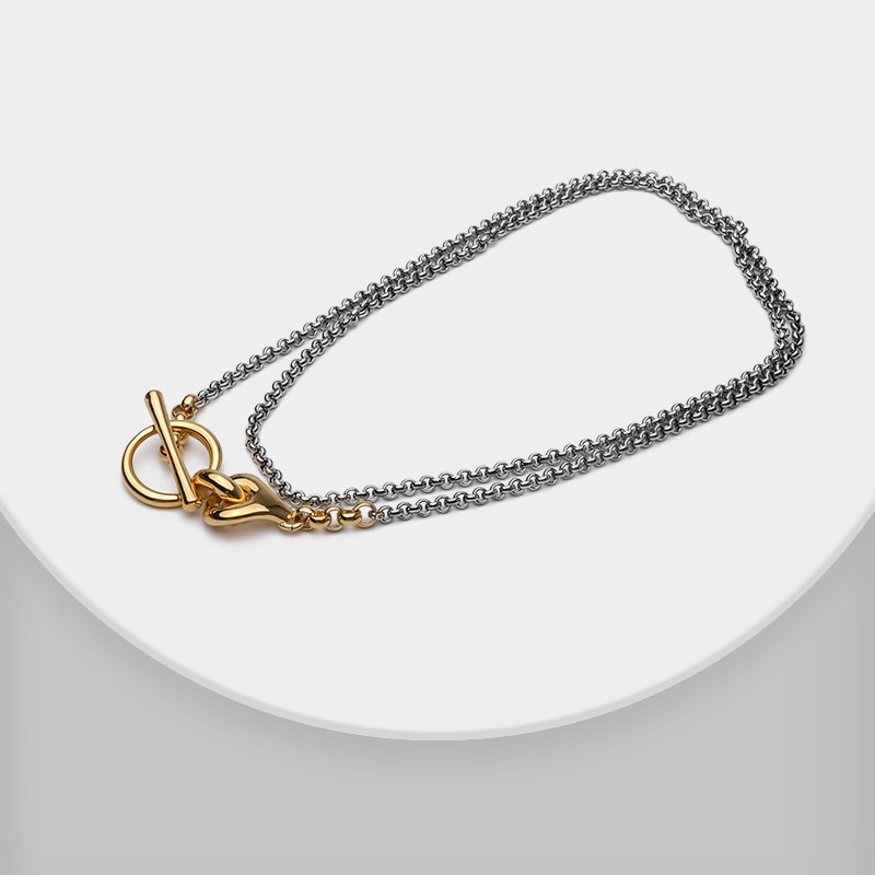 Amorita boutique Fashion matching color gold plating Circle locker long chain double layer necklace