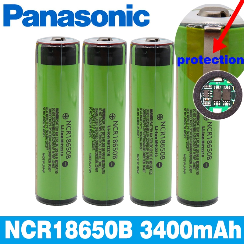 Panasonic Beschermd 18650 NCR18650B Oplaadbare Li-Ion Batterij 3.7V Met Pcb 3400 Mah Zaklamp Batterijen Gebruik