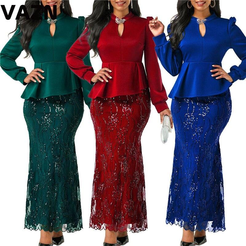 VAZN-Vestido largo elegante de mujer, vestido de trompeta largo hasta el tobillo con volantes y manga larga en 3 colores, vestido de fiesta especial para primavera 2020