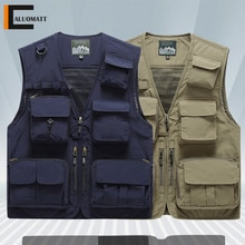 Vests Mens Jacket Multi-Pocket Sleeveless Coat Summer Outdoor Photographer Fishing Tactical Vest Men