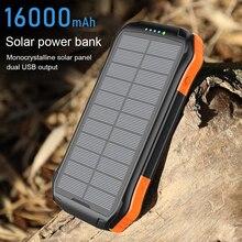 PINZHENG 16000mAh 태양 보조베터리 PD 3.0 빠른 18W 보조베터리 휴대용 외부 배터리 듀얼 USB 보조베터리 충전 전화 충전기