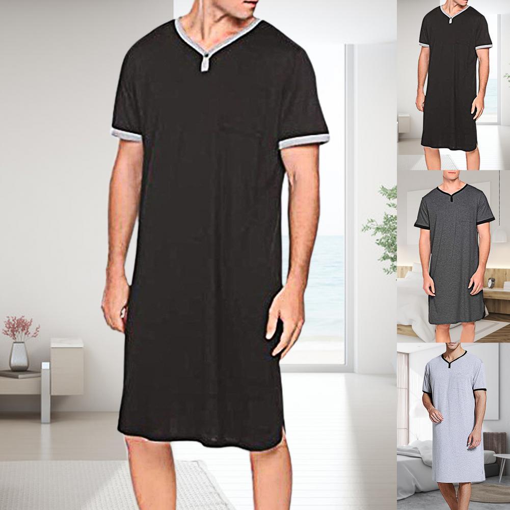 Ночная рубашка мужская с короткими рукавами, круглым вырезом и карманами, свободная ночная рубашка до колен, домашняя одежда, теплая одежда,...