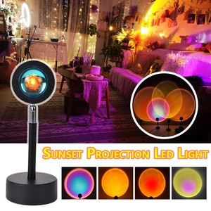 Sunset Projection Led Light Rainbow Atmosphere Lamp Creative Background Wall Decoration Projector Lamp for Living Room