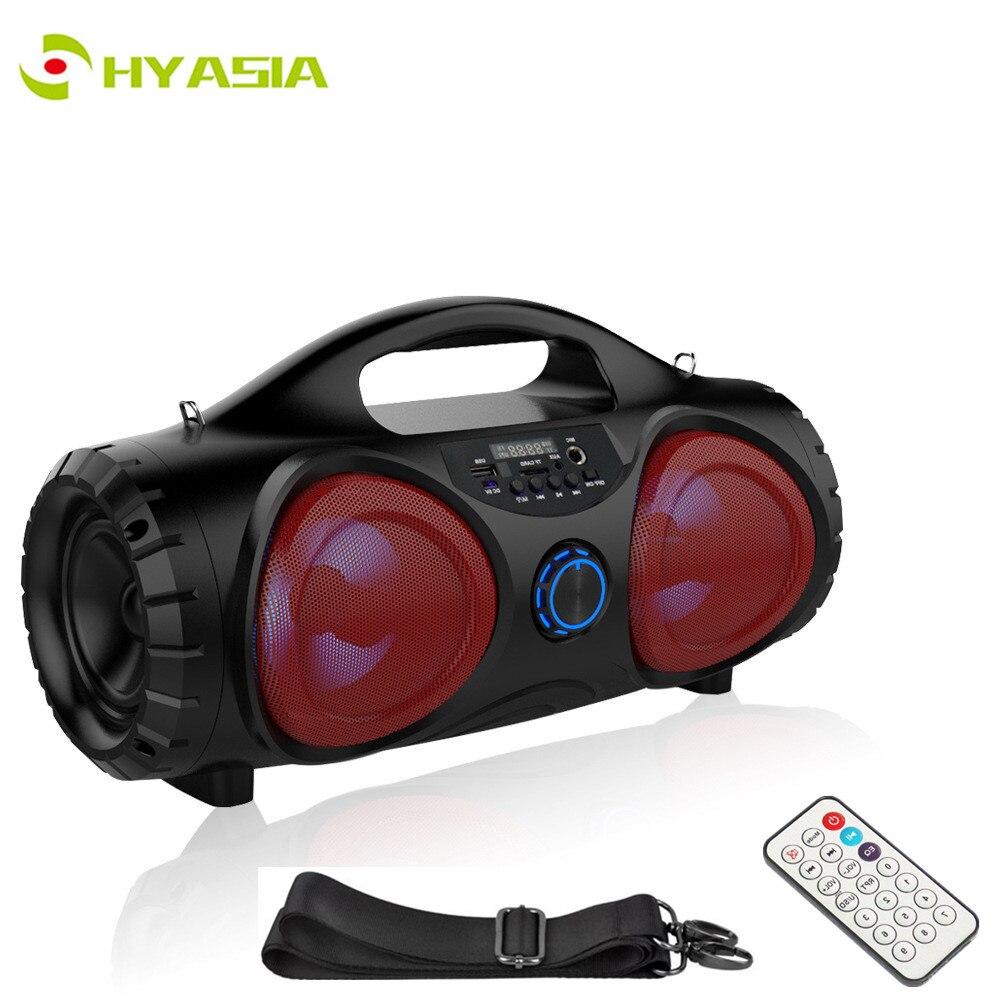 HYASIA LED Subwoofer Altavoz Bluetooth Radio FM portátil Altavoces inalámbricos PC Estéreo Altavoz Soporte Karaoke AUX USB TF sistema de sonido de cine en casa barra de sonido con control remoto Correa de cuerda