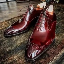 Men pu leather Shoes Low Heel Dress Shoes Spring lace-up oxfords shoes Vintage Classic Male Casual Z