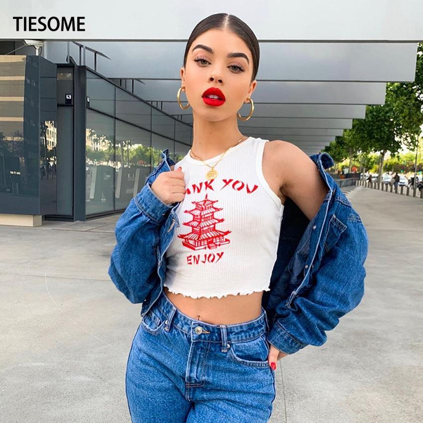 Tiessome-Top corto blanco para mujer, Tops con letras estampadas, camiseta sin mangas Sexy, Top corto ajustado para mujer, ropa para mujer 2020