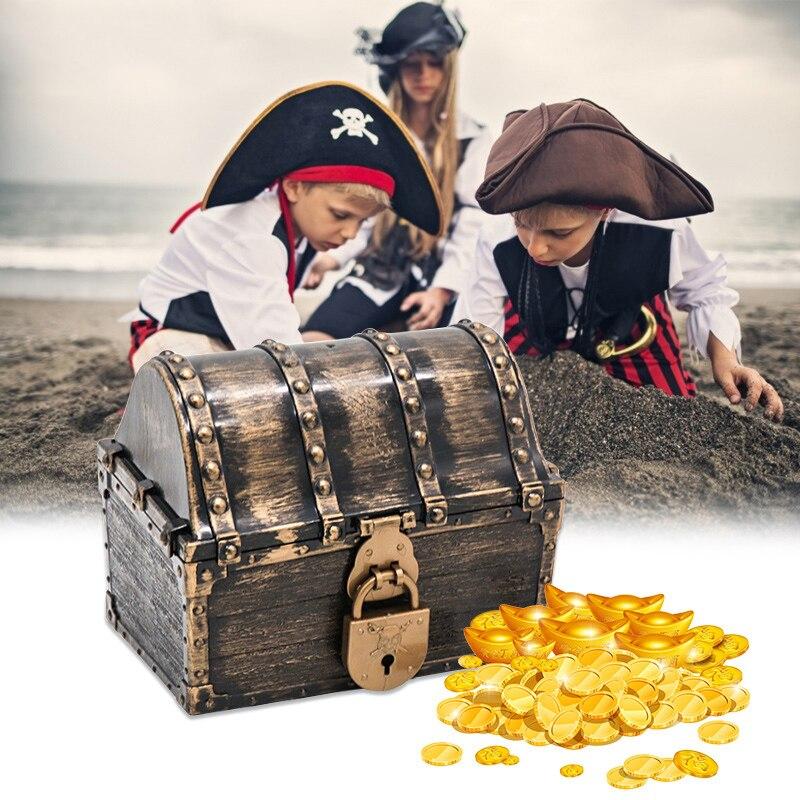 القراصنة الكنز صندوق تخزين الصدر مجوهرات صندوق تخزين منظم حبوب ريترو الكنز حلية تذكار هدية مع مفتاح أقفال