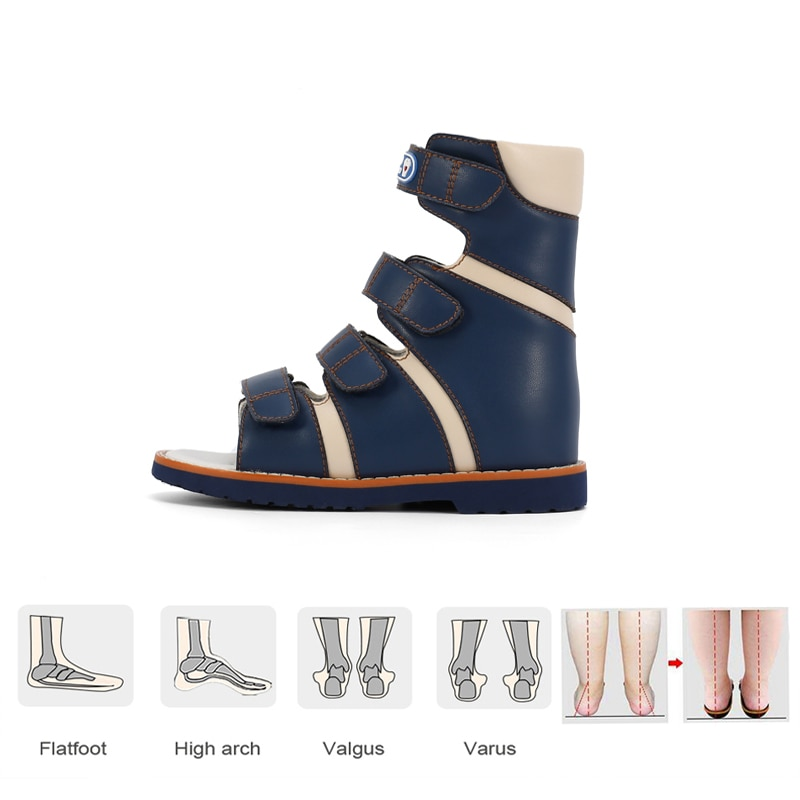Baby Sandals Boys Children High Cut Straps Orthopedic Walking Shoes Professinal Clubfoot Footwear With Arch Support Insole