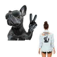 Bulldog-autocollants de transfert de chaleur   Patchs en fer sur vêtements pour vêtements, accessoires à créer, insignes dapplication, niveau A, lavables, pour veste